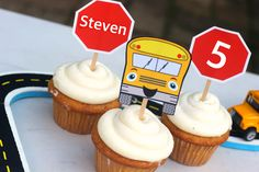 DIY Wheels on the Bus Party Theme Cupcake Toppers and Favor Labels. Simple to make just Download, Print, Cut and Assemble. Make as many as you need.