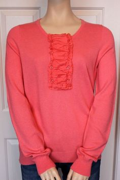 J CREW Women's Coral Pink Long Sleeve Cashmere Blend Sweater Knit Top Size L in Clothing, Shoes & Accessories, Women's Clothing, Sweaters   eBay