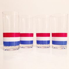 Excited to share this item from my #etsy shop: VINTAGE | set of four red, white & blue striped Georges Briad glasses #redwhiteblue #americanflag #american #retroamerica #georgesbriard #vintageamerica #fourthofjuly #memorialday #laborday