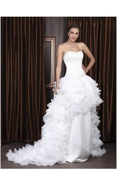 A-line Sweetheart Sweep/ Brush Train Satin Organza Tiered Wedding Dress