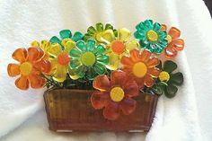 VTG acrylic lucite resin retro 12 flowers power 1960ssun catcher wire stem