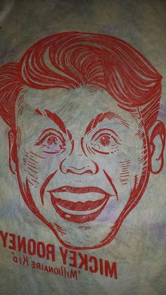 """Mickey Rooney Vintage 1940's Large Iron On Transfer Sheet, Very RARE 6"""" X 10"""""""