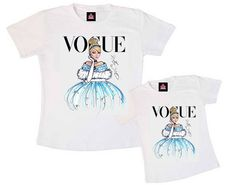 O kit tal mãe, tal filha é composto por 1 t-shirt adulta ou baby look e 1 t-shirt infantil. Os tamanhos adultos são P, M, G e GG e os infantis de 2 a 14 anos. R$ 79,90