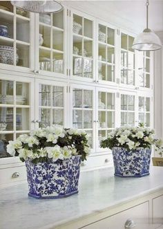 glass cabinets with white marble