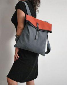 4634e423da8 Backpack Messenger bag Waterproof gray canvas Leather closure Fashionable  bag Handmade women bag Minimalist convertible bag Gift for her