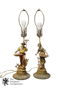 2 Distressed French Spelter Peasant Lamps Farmer Wife Figural Mid Cent Moreau? | The Designers Consignment