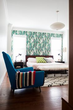 Love this eclectic pattern mix with our Nana (Pink) wallpaper! (via Design Addict Mom)