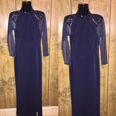 """Sheer navy dress Fabulous full length dress!!! Pretty NAVY BLUE . With silver cute studs. Sheer sleeves & sheer backside. Long zipper in the back. And supportive collar! No signs of wear - FLAWLESS - new condition.  Size 6 , considered a small/ medium fit. Has a nice sexy slit on one side, 27"""" Measuring from UNDER ARMPIT, 46"""". Dresses Long Sleeve"""