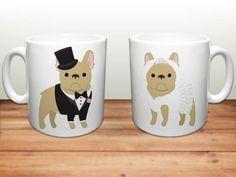 French Bulldog Kaffeetassen  Hochzeit von sophisticatedpup auf Etsy