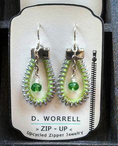Green up cycled zipper earrings