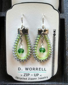 Green up cycled zipper earrings