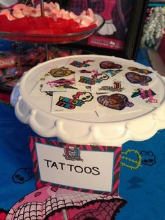 Monster High Birthday Party Ideas, tattoo station, cute idea along with a station for nails and face painting | Photo 1 of 25 | Catch My Party