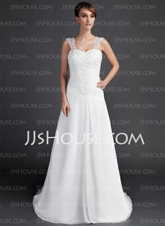 Wedding Dresses - $163.99 - A-Line/Princess Sweetheart Court Train Chiffon Wedding Dress With Ruffle Lace Beadwork (002000061) http://jjshouse.com/A-Line-Princess-Sweetheart-Court-Train-Chiffon-Wedding-Dress-With-Ruffle-Lace-Beadwork-002000061-g61