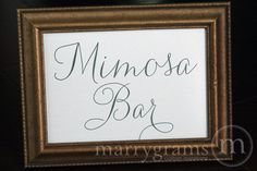 Mimosa Bar Sign or Drink, Cocktail Station Table Card Sign - Wedding Reception Seating Signage - Matching Numbers Available SS01