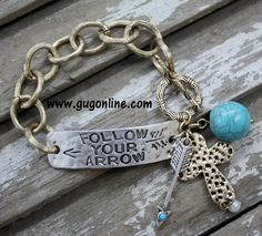 Silver and Gold Follow Your Arrow Bracelet with Dangle Charms www.gugonline.com $14.95
