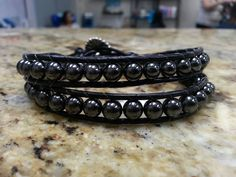 Hematite Double Wrap Crystal Healing Bracelet with Tree of Life button by DoubleDeesigns on Etsy