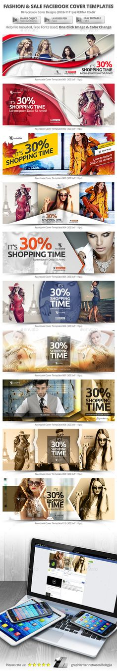 10 Fashion & Sale Facebook Cover Templates #design #psd Download: http://graphicriver.net/item/10-fashion-sale-facebook-cover-templates/12642017?ref=ksioks