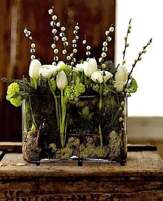 fresh green and white contemporary floral arrangement in glass tank----using white tulips, green hydrangeas, and pussy willows. fresh green and white contemporary floral arrangement in glass tank----using white tulips, green hydrangeas, and pussy willows. Easter Flower Arrangements, Easter Flowers, Love Flowers, Spring Flowers, Floral Arrangements, Beautiful Flowers, Wedding Flowers, Flowers Garden, Easter Centerpiece