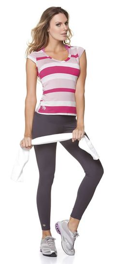 we need some classic black pants like this! and Stripped tops are always in (classic workout look)