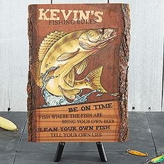 Fishing Rules Basswood Plank Sign