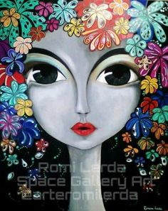 Art of a lady with colorful flower hair Illustrations, Illustration Art, Art Journal Inspiration, Whimsical Art, Face Art, Doodle Art, Art Girl, Zentangle, Art Gallery