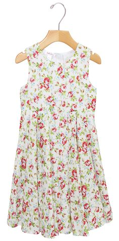 Traditional Floral Cotton Dress in White with darling print by stella cove beach wear and dresses for girls