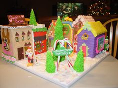 Oh what a cute gingerbread display of the North Pole by Kathy Lebarron.  The buildings in her town are all so cheery and bright.