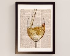 White Wine Dictionary Print  Bar Art  Print on by DictionArt, $10.00
