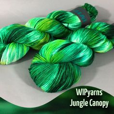 Jungle Canopy Variegated Hand Dyed Sock or Fingering by WIPyarns