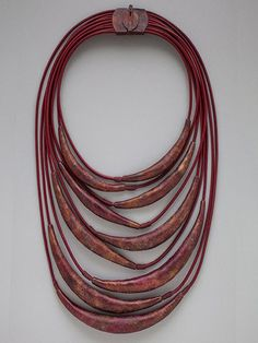 Sher Novak, Brushstrokes, 2015, Necklace, Patinated copper, leather cord, waxed linen thread, 16 x 7 inches,