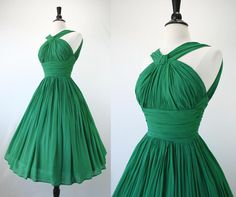 Vintage 50s Dress Party Chiffon Crepe Emerald Green Shelf Bust Grecian Ruching Halter 1950s Dresses. $235.00, via Etsy.
