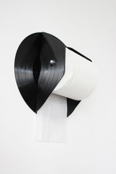 Upcycled Vinyl Record Toilet Roll Holder