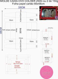 DICAS E RECEITAS DE ATORTAH: MOLDE CAIXA OVO DE PÁSCOA DE COLHER Diy Gift Box, Diy Box, 3d Paper, Paper Crafts, Diy Crafts, Origami, Paper Box Template, Sweet Box, Box Patterns