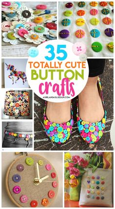 35 button crafts - A girl and a glue gun