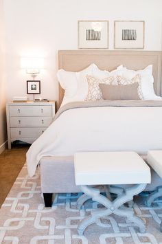 Tan Headboard - Design photos, ideas and inspiration. Amazing gallery of interior design and decorating ideas of Tan Headboard in bedrooms, girl's rooms, boy's rooms, basements by elite interior designers. Tan Bedroom, Home Bedroom, Master Bedroom, Bedroom Decor, Bedroom Colors, Bedroom Sconces, Bedroom Lighting, Bedroom Inspo, Style At Home