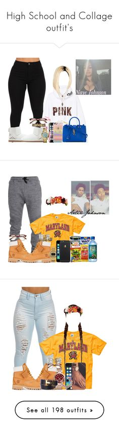 """""""High School and Collage outfit's"""" by obey-957 ❤ liked on Polyvore featuring UGG Australia, Victoria's Secret PINK, Tory Burch, Casetify, H&M, Yves Saint Laurent, art, Timberland, Michael Kors and Hermès"""