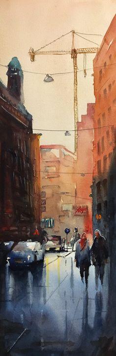 Eftermiddag i City, Stefan Gadnell Akvarell