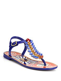 Dolce & Gabbana - Embellished Rubber Thong Sandals