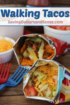 This Walking Tacos recipe is such a nice and easy idea for any party.    Just pick up a bunch of snack sized bags of Doritos or Fritos and add a few other toppings for your guests to choose from.    I love that each person has the ability to customize their own Walking Tacos! via @KristieSawicki