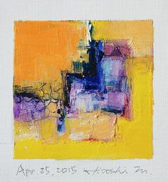 Apr. 25, 2015 - Original Abstract Oil Painting - 9x9 painting (9 x 9 cm - app. 4…