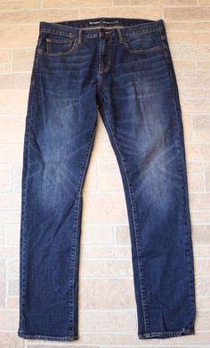 Old Navy Skinny Jeans Mens 34 x 32 Medium Blue Wash Cotton Straight Slim Leg EUC #OldNavy #SlimSkinny