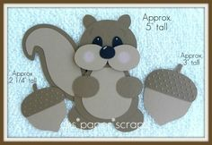 Squirrel and acorn paper piecings - bjl