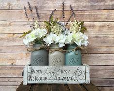 mason jar centerpiece, mason jar centerpiece decor, mason jar floral decor, farmhouse table decor, mason jar flowers, farmhouse, gather