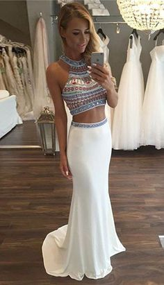 Custom Made White Mermaid Two-Piece Long Prom/Evening Dress with Beading