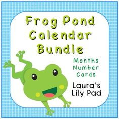 Calendar Bundle -- Frog Pond ThemeThis calendar set includes months of the year and sets of calendar numbers in a frog pond theme.The calendar header months of the year printables include all of the months of the year in shades of blue and green and cute friendly frogs.This file includes three complete sets of calendar numbers, each with a pattern.