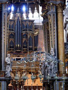 Gorgeous pipes of the organ in a church in São Cristóvão e São Lourenço, Portgual.  The pipe appear dark blue.  Note the rest of the amazing decor in the church.  Photo by PhilanderShand, via Flickr.