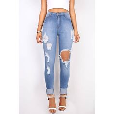 VIBRANT Dynamite High Waist Shredded Skinny Jeans ($50) ❤ liked on Polyvore featuring jeans, destructed skinny jeans, high waisted ripped skinny jeans, high waisted jeans, high rise jeans and high-waisted skinny jeans