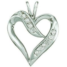 Thanks for Sharing!  0.02 Carat (ctw) 10k White Gold Round White Diamond Ladies Heart Pendant - Dazzling Rock #https://www.pinterest.com/dazzlingrock/