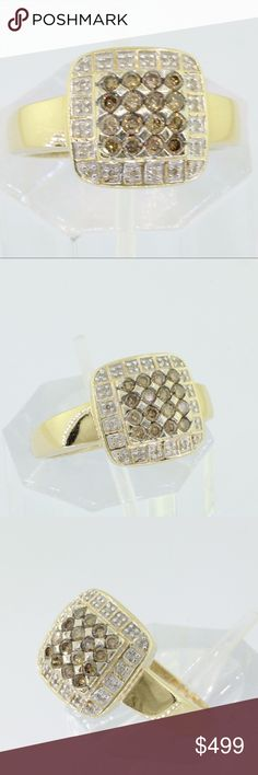 14K Yellow Gold Champagne Brown Diamond Ring Ladies 14KT Yellow Gold Champagne Brown Diamond Fancy Designer Ring 0.50CT  Gemstones: Fancy Champagne Diamonds  Total Carat Diamonds : .50CT   Color:I-J Clarity:I1-I2  Mounting metal: 14K yellow gold  Ring Size: Size 9  Total weight of piece:6.5g   COMPARE AT: $2125  ITEM'S VIDEO LINK https://youtu.be/LNpfwSdshfU  Please feel free to contact me for any inquiry. Jewelry Rings