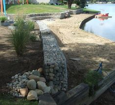 Curved gabion wall and bench